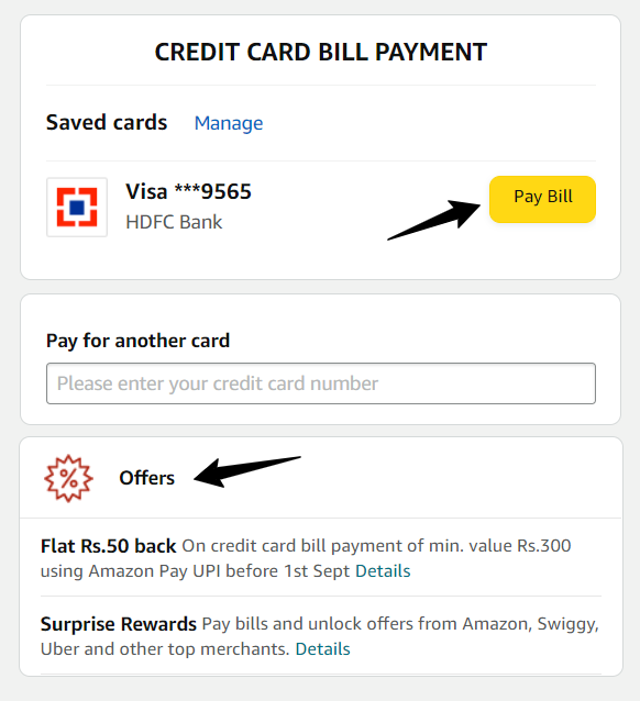 Amazon Credit Card Bill Pay And Offer